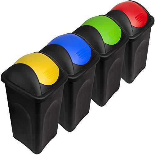 Limettenfarbener M/ülleimer 60 Liter mit silber Schwingdeckel robust und abwaschbar /• M/ülleimer Papierkorb Abfalleimer Abfallbeh/älter M/ülltonne Eimer M/ülltrennung